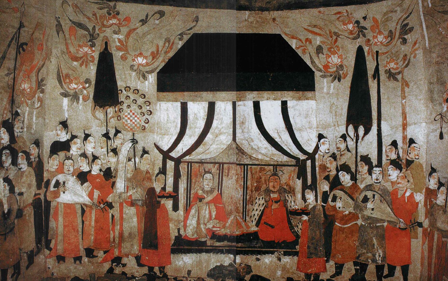 Malba na severní stěně hrobky Xu Xian Xiu z čínské dynastie Severní Qi