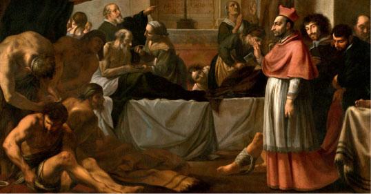 Karel Škréta: Sv. Karel Boromejský navštěvuje nemocné morem
