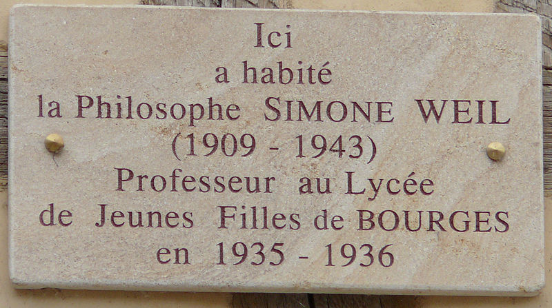 Pamětní deska na domě, v němž žila francouzská filozofka Simone Weilová (Bourges, 7 place Gordaine)