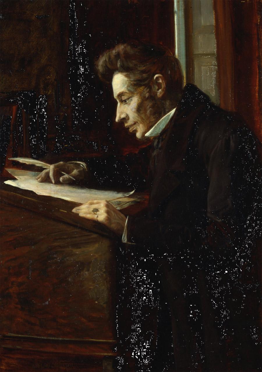 Søren Kierkegaard u psacího pultu na obraze Luplau Janssena (1902)