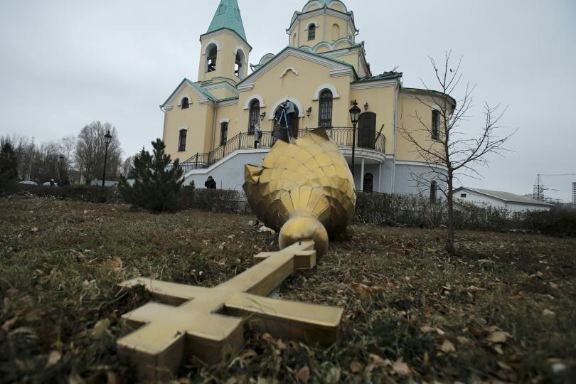 Zřícená kopule kostela v Doněcké oblasti