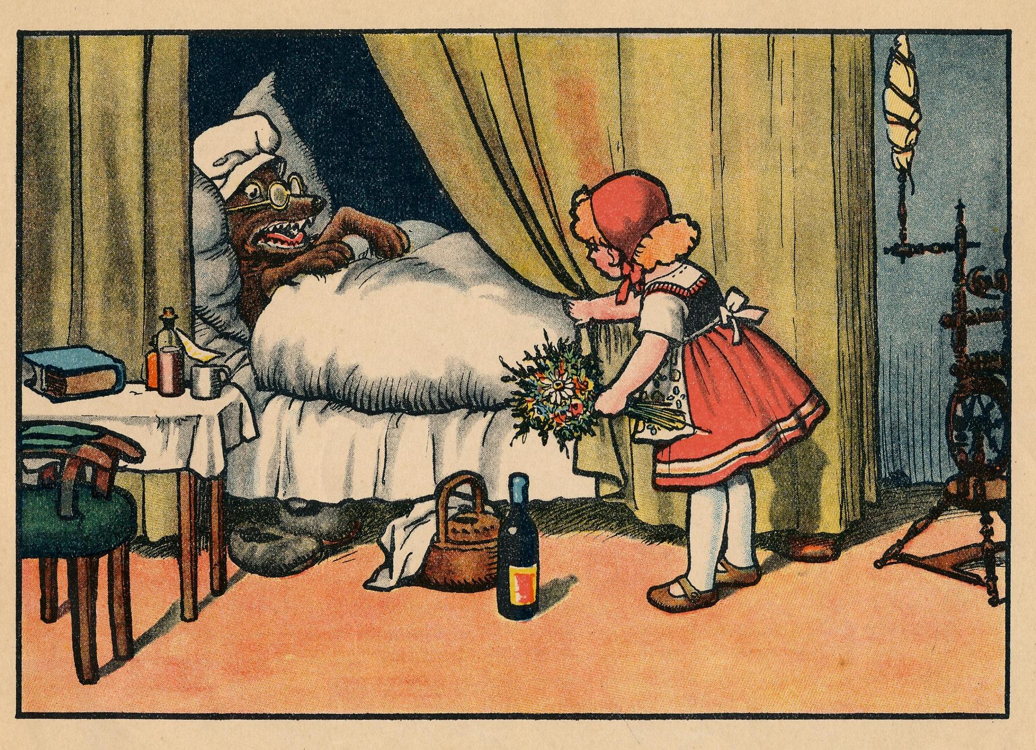 Červená karkulka a vlk na holandském tisku z roku 1920
