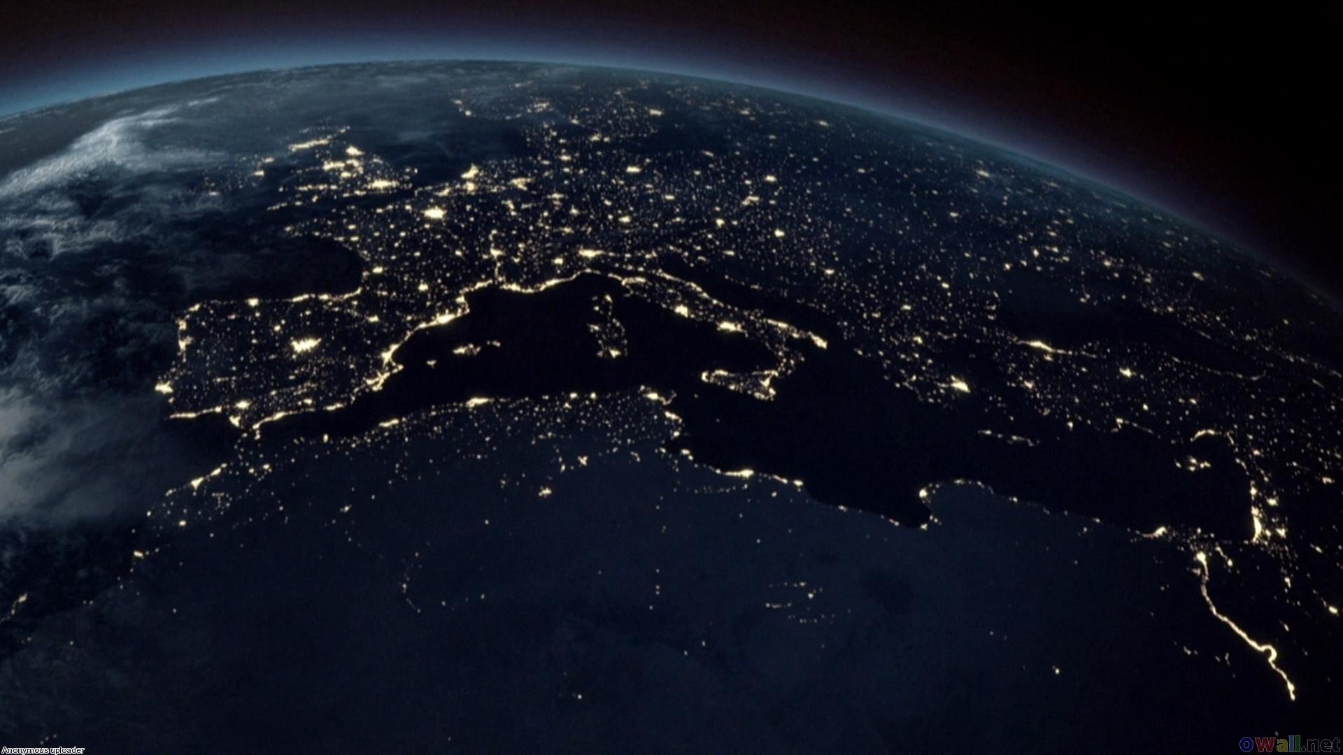Planeta Země v noci, antropocén, elektřina, světelný smog