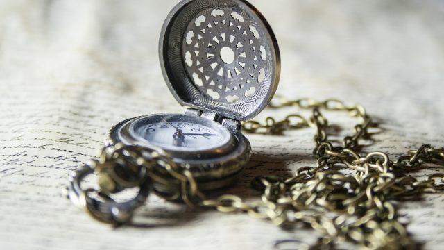 Hodiny, čas, kapesní hodinky, starý, starožitnost