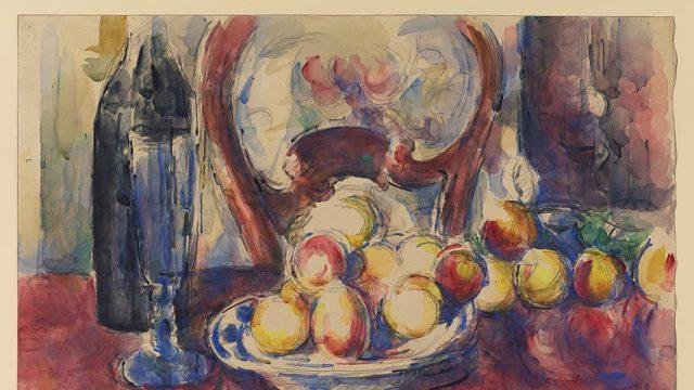 Paul Cézanne: Zátiší s jablky, lahví a opěradlem, asi 1904–1906