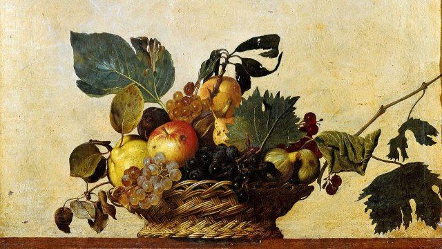 Caravaggio: Koš s ovocem (1595–96), olej na plátně, 31 x 47 cm