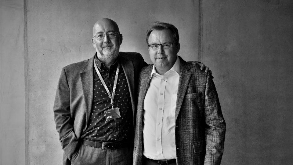 Egyptolog Miroslav Bárta a historik Martin Kovář, editoři knihy Lidé a dějiny