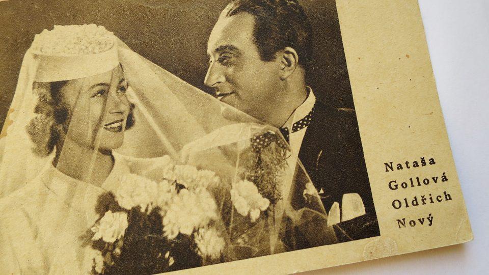 Pohlednice k filmu Roztomilý člověk z roku 1941 s Oldřichem Novým a Natašou Gollovou