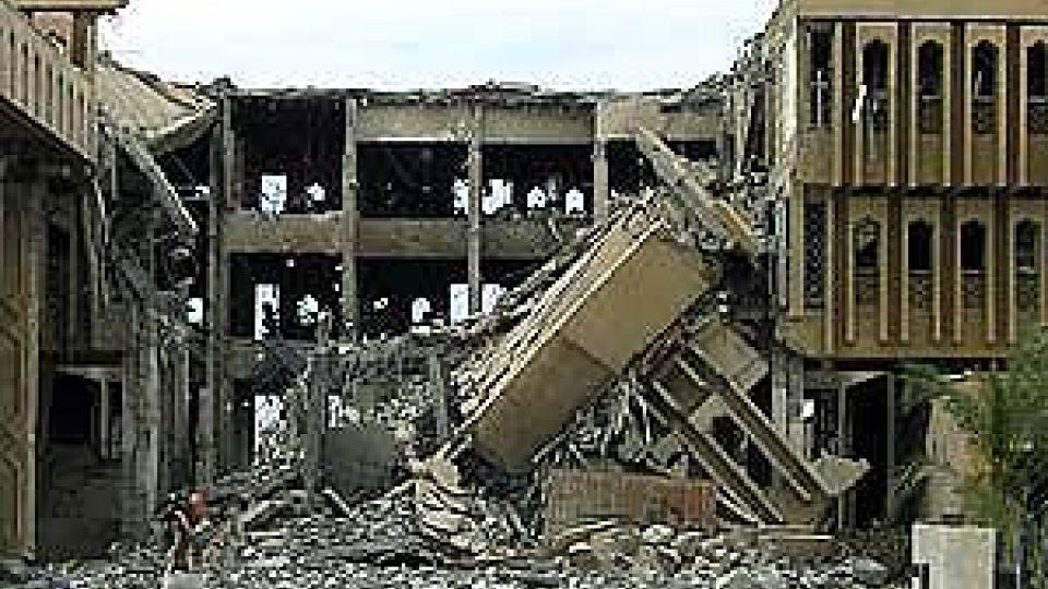 Zničená radnice v Basře