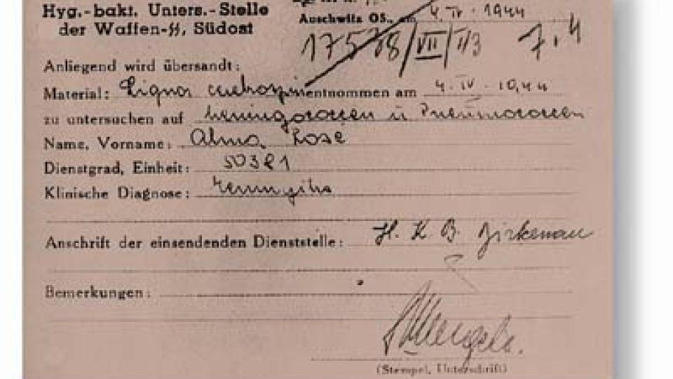 Žádost o vyšetření na Institut hygieny SS podepsaný Josefem Mengelem