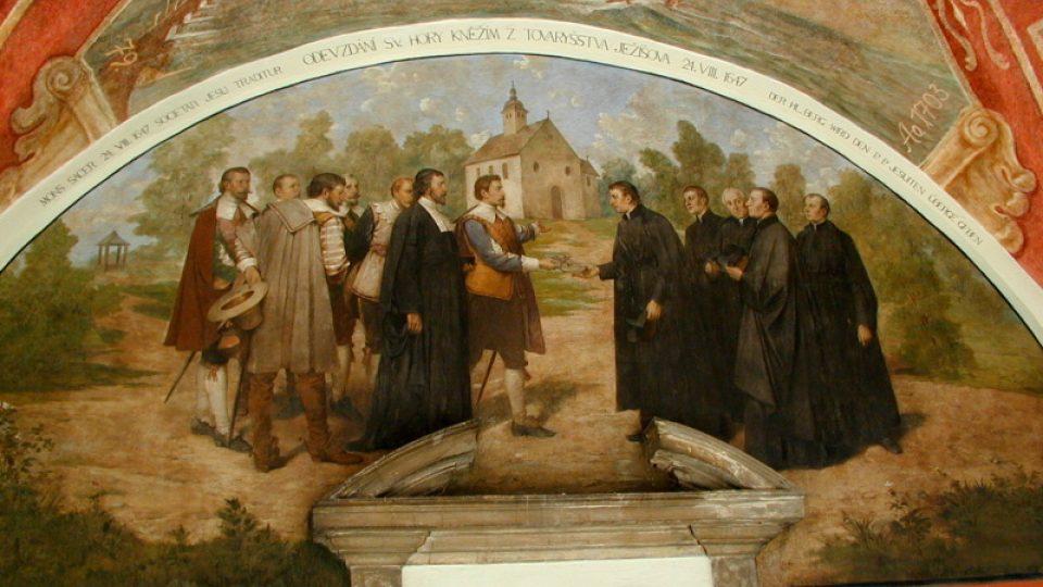 Odevzdání Svaté Hory kněžím z Tovaryšstva Ježíšova. 24. 8. 1647. Lunetový obraz v ambitu Svaté Hory