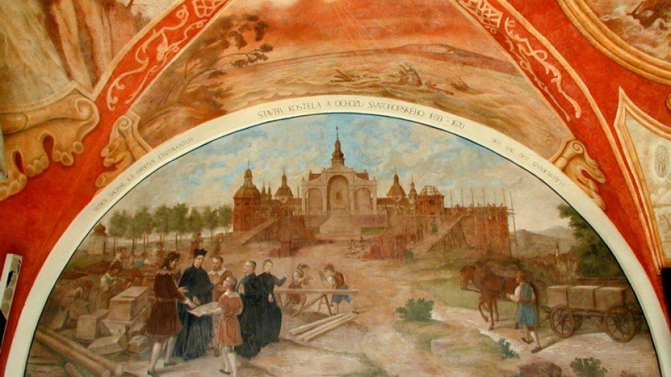 Stavba kostela a ochozu Svatohorského, 1659-1670. Lunetový obraz v ambitu Svaté Hory
