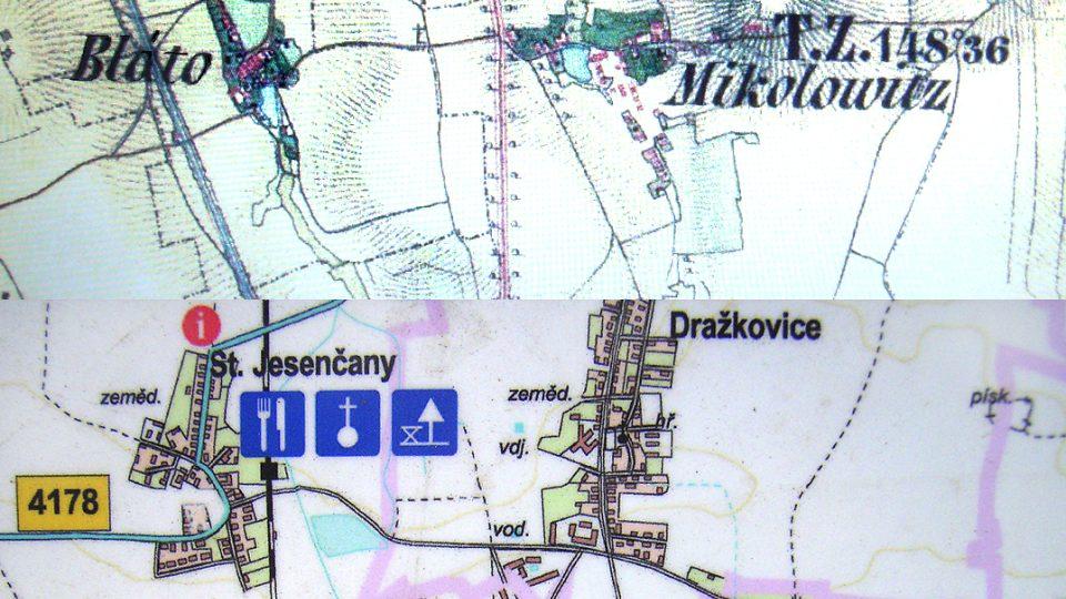 Obec Bláto na staré vojenské mapě a  Blato na informační mapě cyklotrasy Ostřešany - Blato - Dřenice