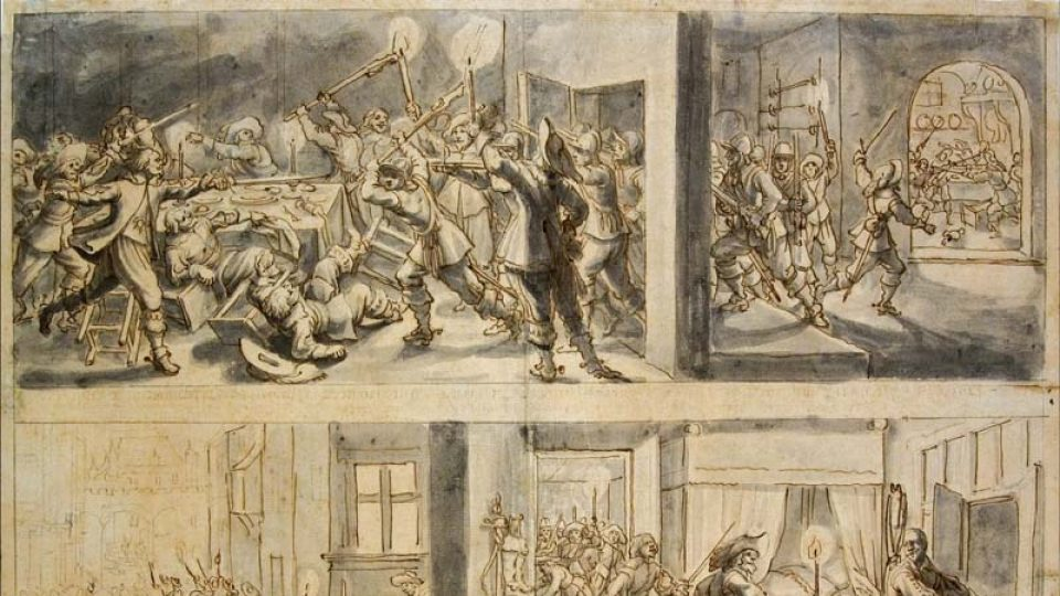 Matheus Merian st.: Zavraždění Albrechta z Valdštejna v Chebu 15. února 1634 (Národní galerie v Praze)