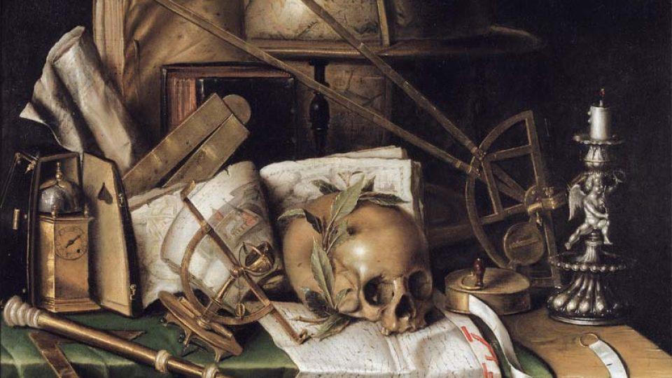 Kristián von Tlum: Zátiší s astronomickými přístroji (Stockholm, Nationalmuseum)