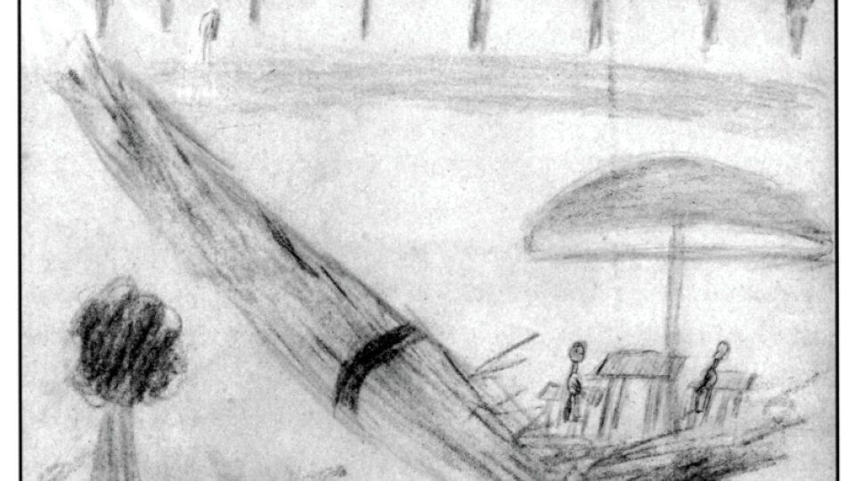 Jedna z Haniných kreseb, které vytvořila při výtvarných hodinách pro internované židovské děti v Terezíně