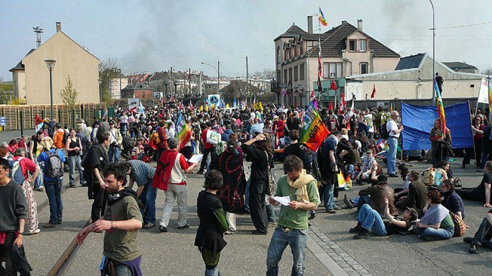 Protesty v ulicích Štrasburku