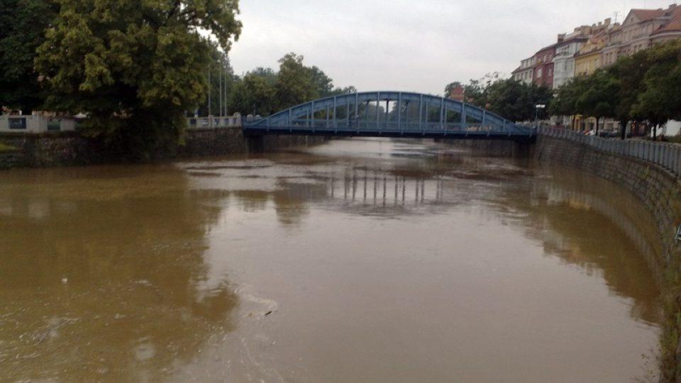 Zvýšená hladina řeky Malše v Českých Budějovicích