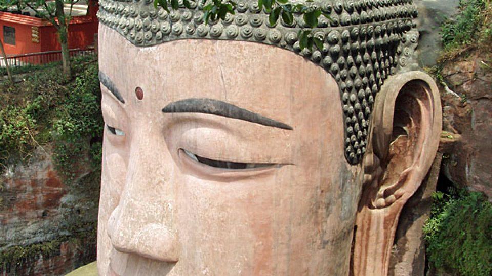 Hlava Obřího Buddhy v Le-šanu