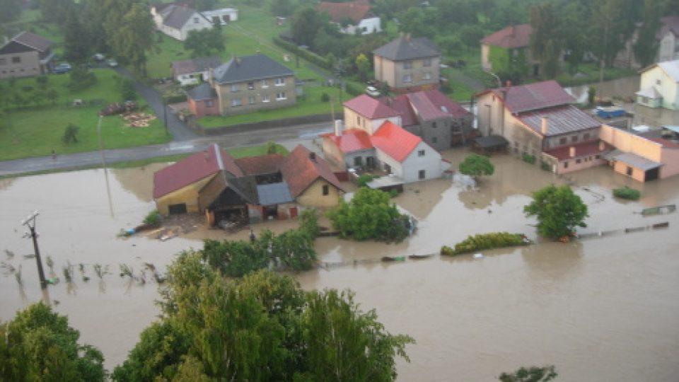 Povodeň v Jeseníku nad Odrou na Novojičínsku