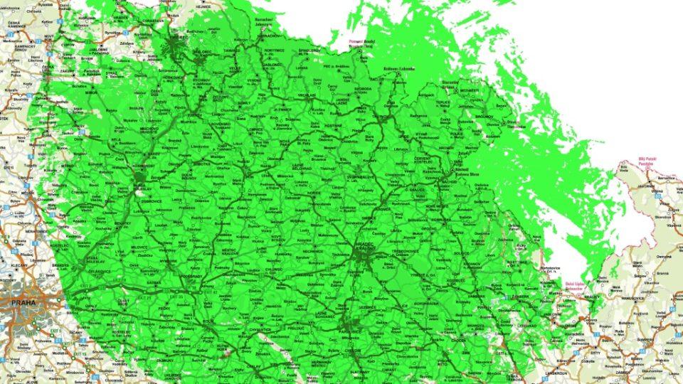 Vysílač Trutnov - Černá hora, 40. kanál, horizontálně (orientační mapa pokrytí od 1. 9. 2009)