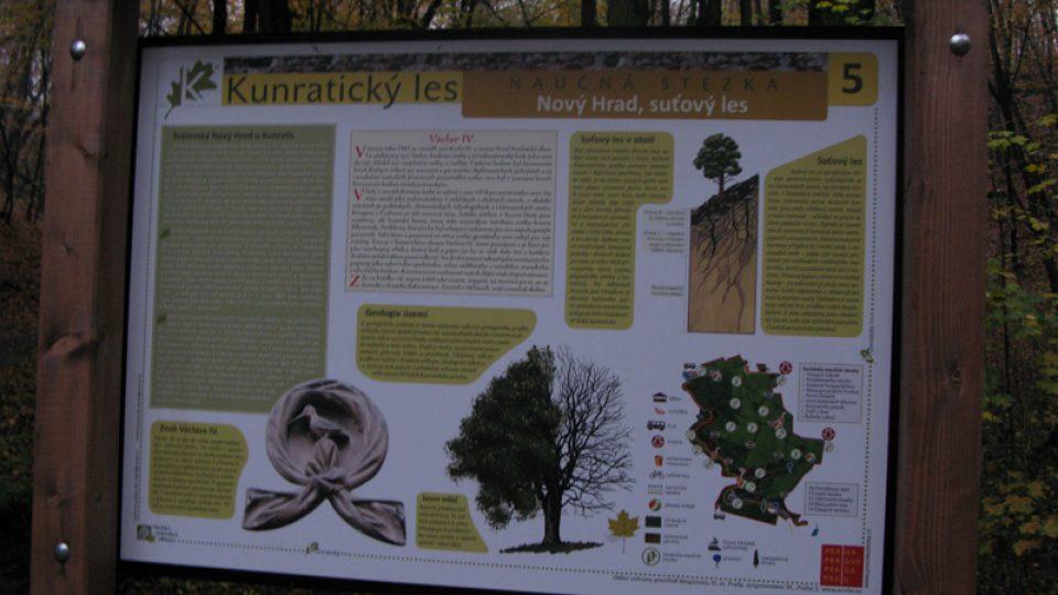 Informační tabule z naučné stezky Kunratickým lesem
