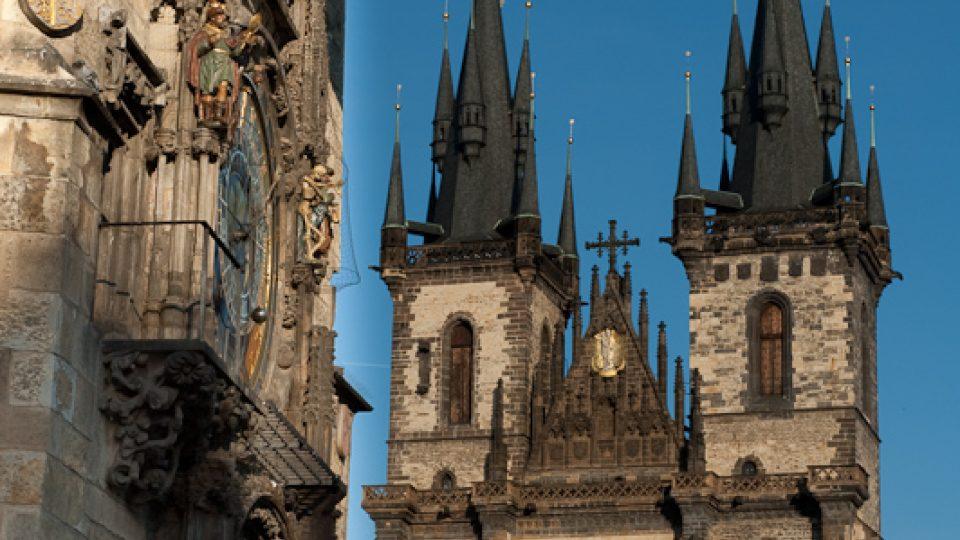 Orloj, Staroměstské náměstí a kostel P. Marie před Týnem, Praha 1