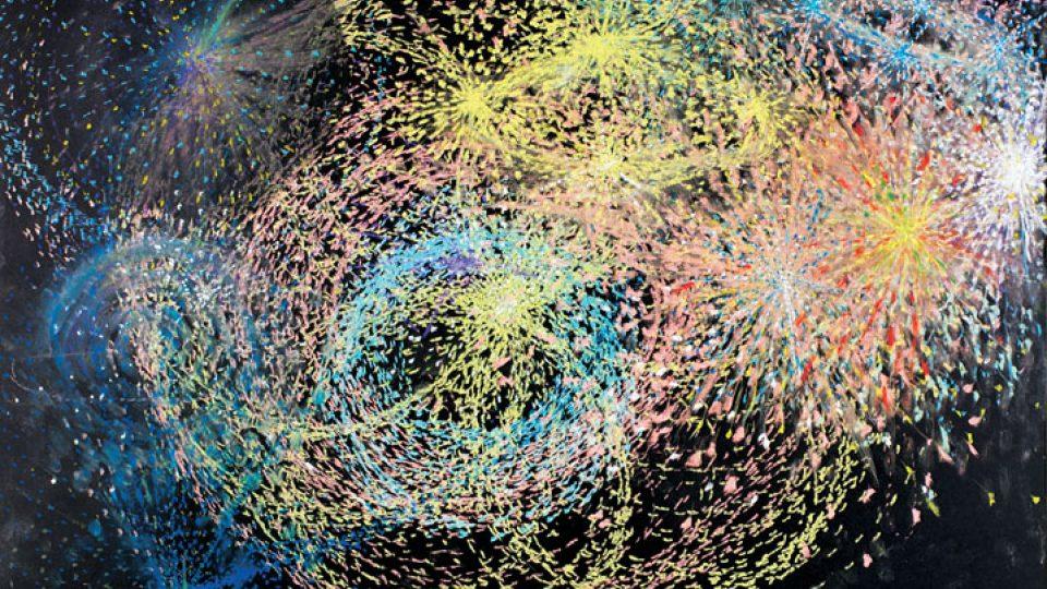 Martin Mainer Světla letu 1999, 70 x 100 cm, papír, pastel
