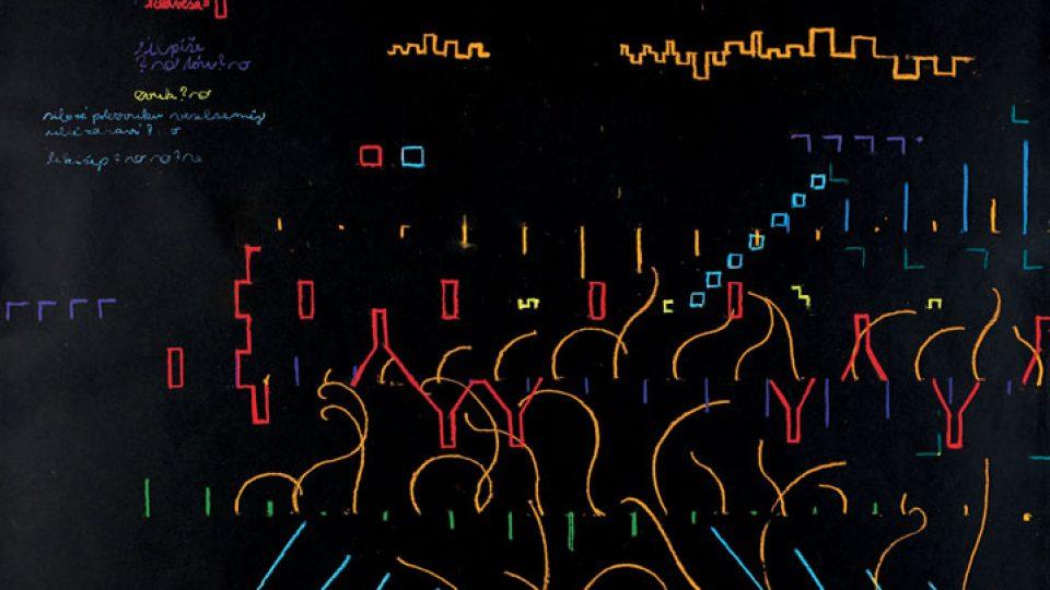 Martin Mainer Graf srdce 1999, 70 x 100 cm, papír, pastel