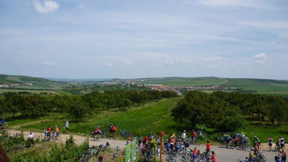 Pohled ze Slunečné na Bořetice, Vrbici a Kobylí