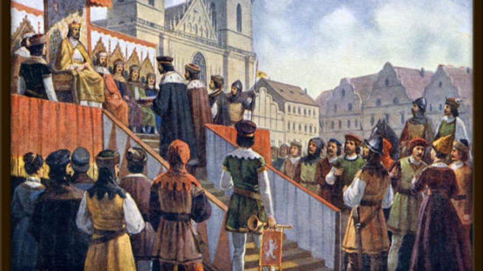 Pražané skládají slib císaři Zikmundovi, když se byl zavázal říditi artikulemi.