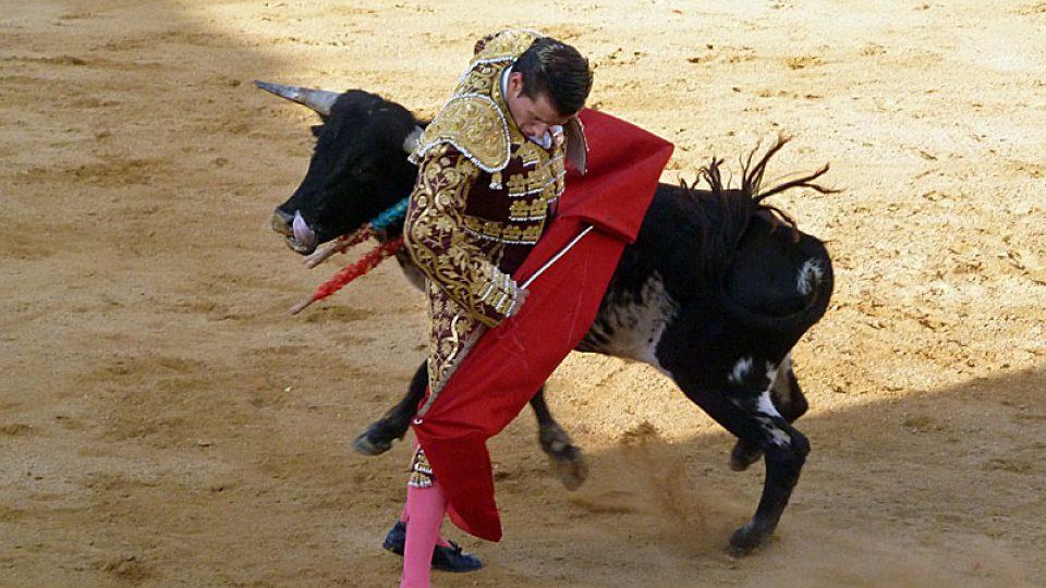 Rozzuřený býk minul toreadora