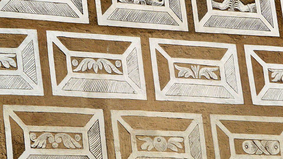 Sgrafita na omítce zámku v Litomšli