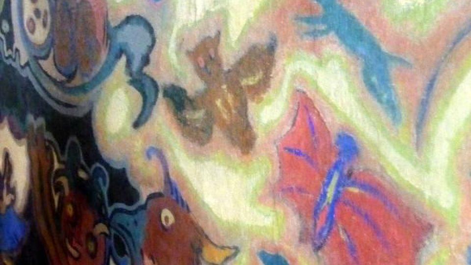 Detail olejomalby na omítce