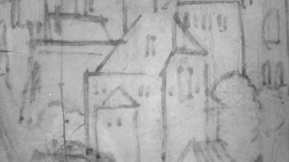 Podkresba města v pozadí v reflektografii