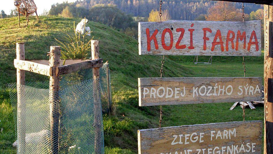 Kozí umění na farmě v Nové Vísce v regionu Českého Švýcarska