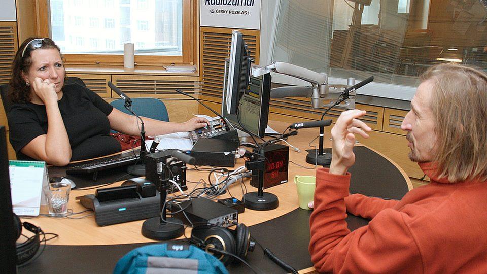 Daniela Karafiátová s Vladimírem Javorským před začátkem rozhovoru