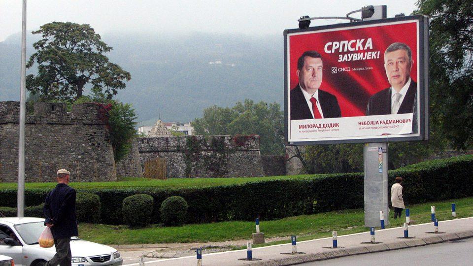 Předvolební billboardy v Banja Luce, hlavním městě Republiky srbské