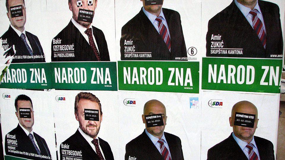 Volební plakáty muslimských politiků ve volbách v Bosně a Hercegovině