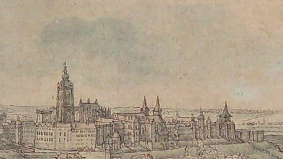 Václav Hollar, Velký pohled na Prahu ze svahu Petřína, 1636, kresba perem, kolorovaná transparentními barvami, ze dvou částí papíru: 120x273 mm, 121x281 mm, detail