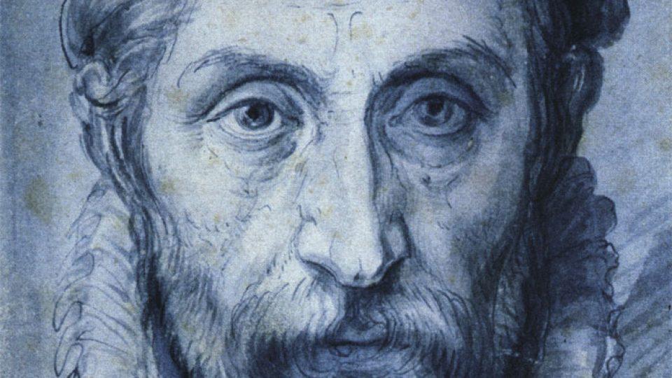 Giuseppe Arcimboldo, Autoportrét, kolem 1570, kresba perem a štětcem modrou barvou, 230x157 mm