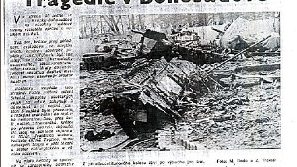 Článek s fotografií z místa bohosudovské tragédie v dobovém tisku