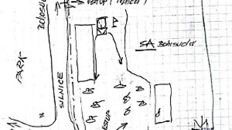 Plánek místa tragédie, tak jak si ho nakreslil šéf dobrovolných hasičů v Krupce Václav Lodl