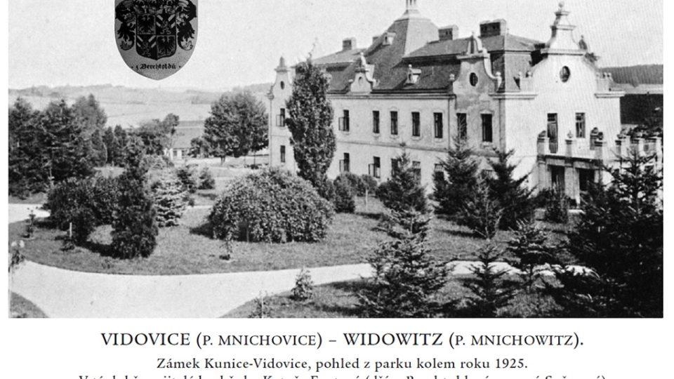 Zámek Berchtold - pohled z parku kolem roku 1925