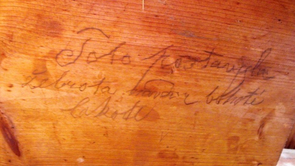 Podpis Karla Trnky - stavitele varhan v Chrašicích