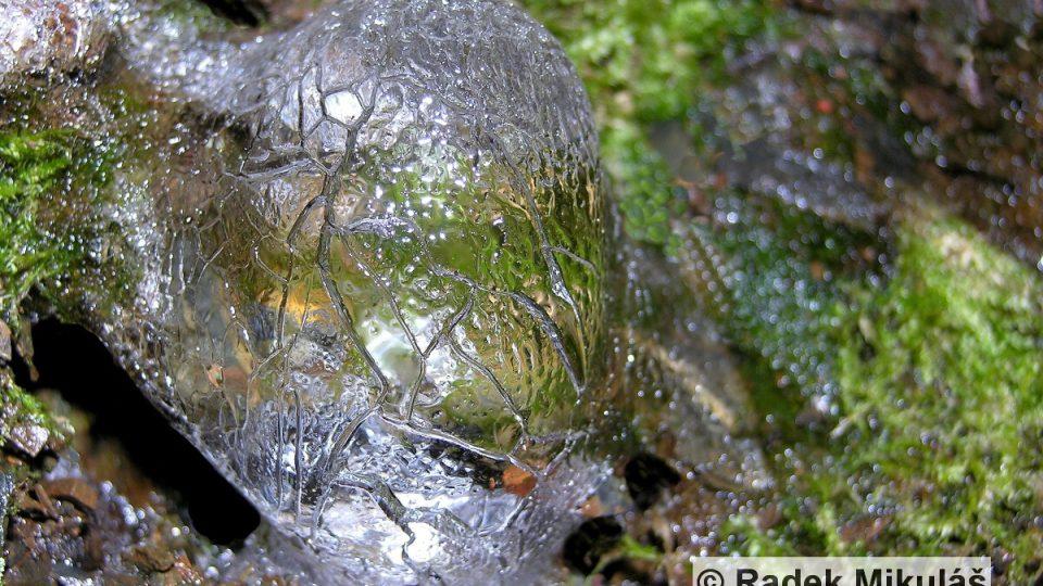 Mráz povoluje a ledová koule, která vyrostla v mechu v úvozu nad Kocábou, se vlivem tání a sublimace pokrývá žlábky a fasetami