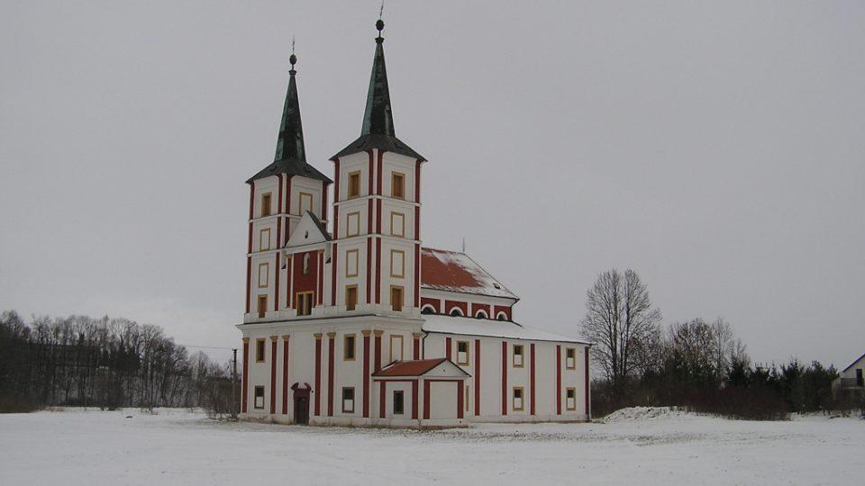 Kostel sv. Markéty v Podlažicích v zimě