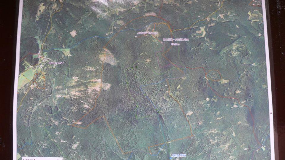 Letecká mapa Boubína