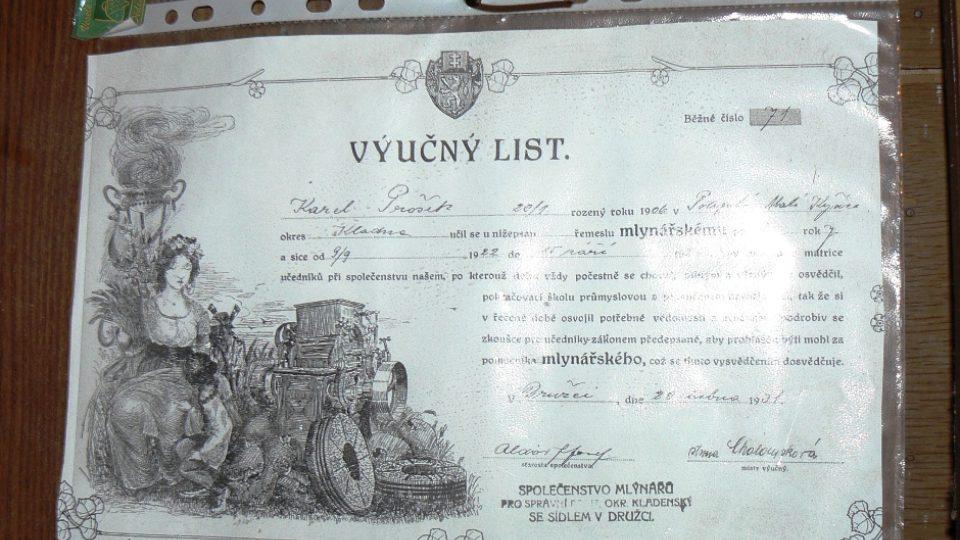 Výuční list mlynáře Proška