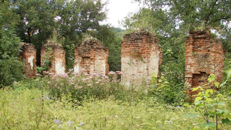Zámek Vranová Lhota - zarostlý zámecký dvůr a zbytky východního křídla